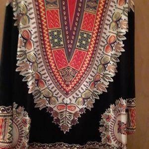 Long black multicolored Dashiki  Tribal Boho Tags